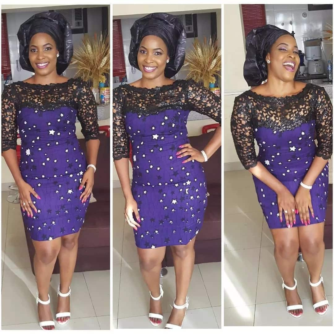 Ankara short gown with lace