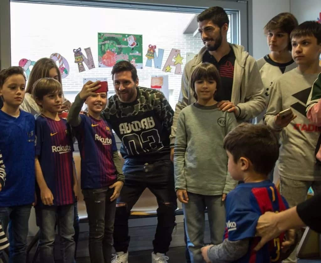 Messi with his fans