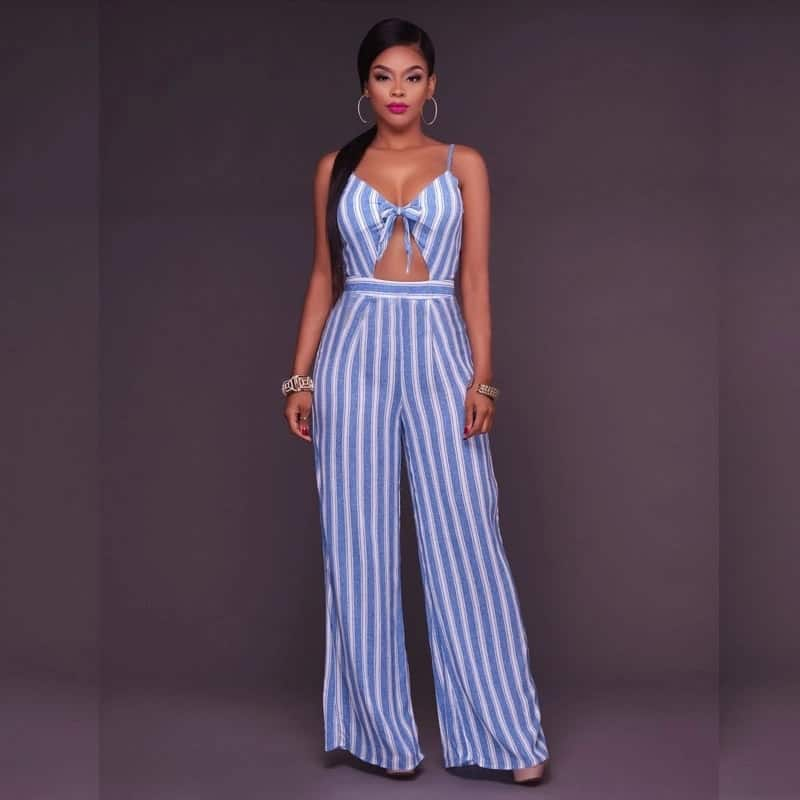 Blue and white jumpsuit with a top