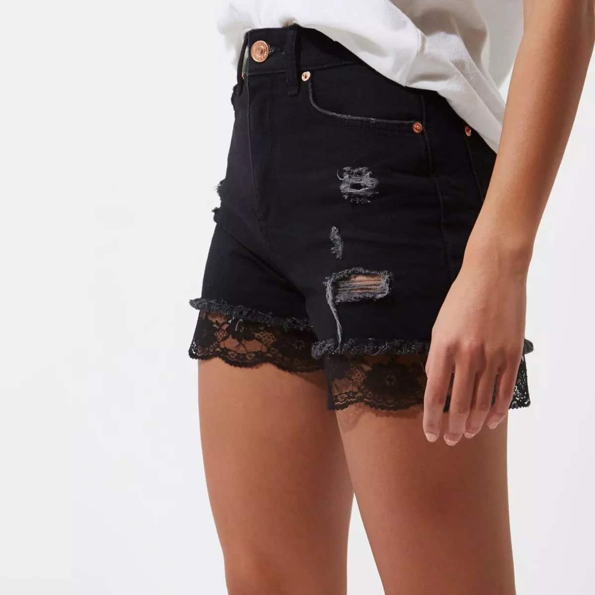 Jeans shorts with French lace trim