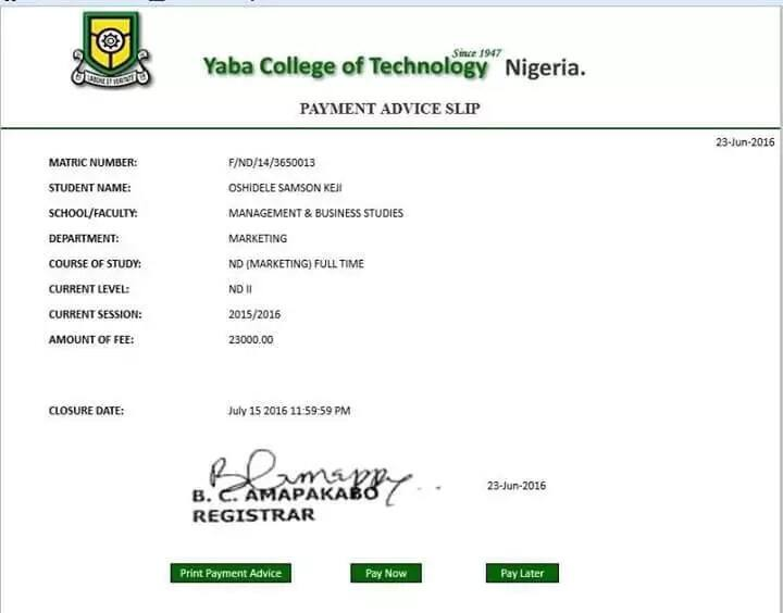 Yabatech school fees payment