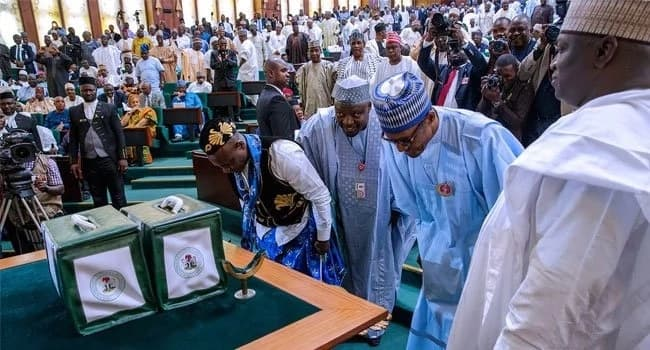 President Buhari presenting the 2018 budget to the House of Assembly. Photo source: Channels TV
