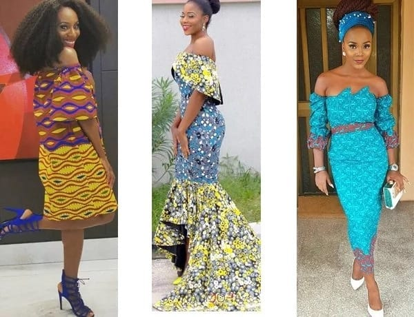 Off shoulder Ankara dresses