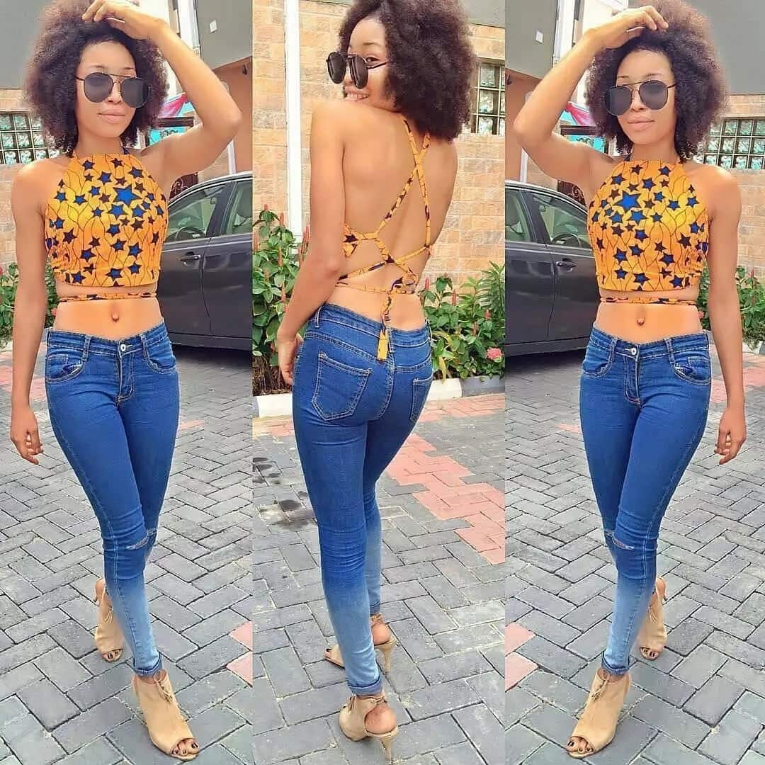 Open back crop top styles with Ankara