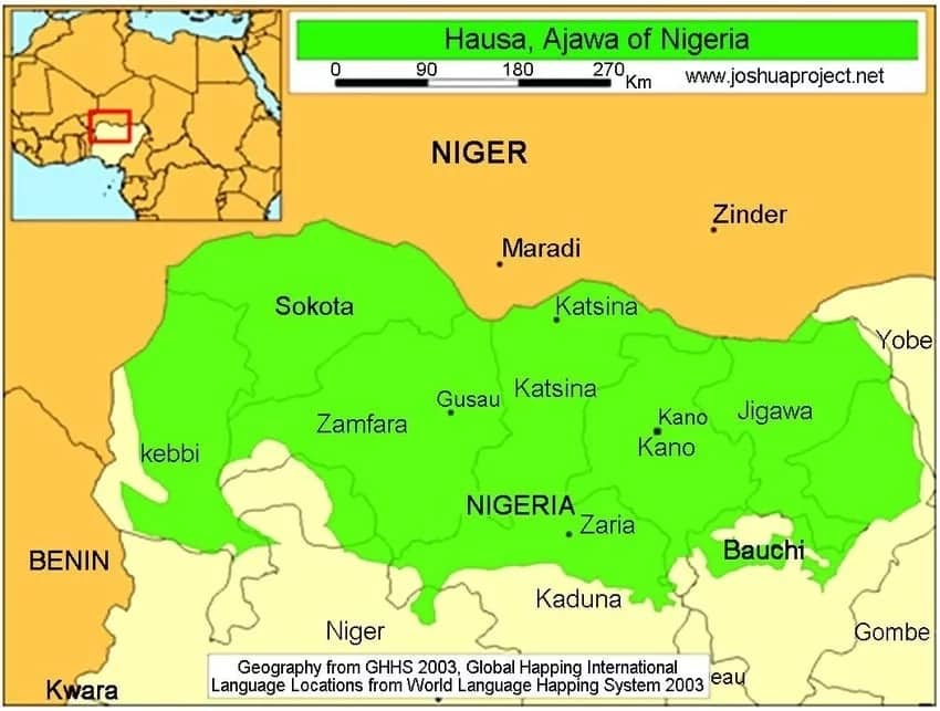 Map of the Hausa states in Nigeria