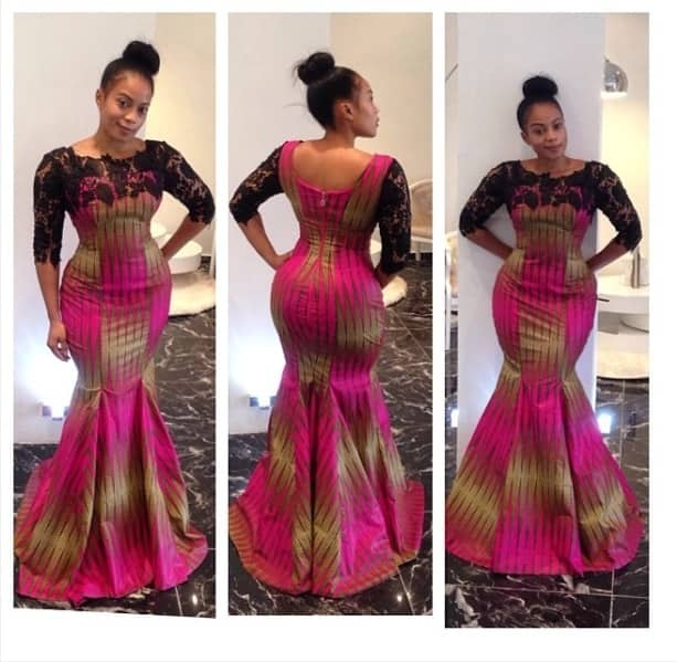 Ankara long dress with black lace décolletage and sleeves