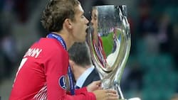 Check out how Antoine Griezmann celebrated Atletico Madrid's Super Cup victory over Real Madrid (photos)