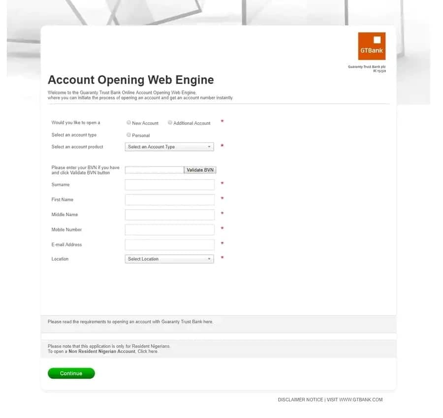 GTB account opening engine