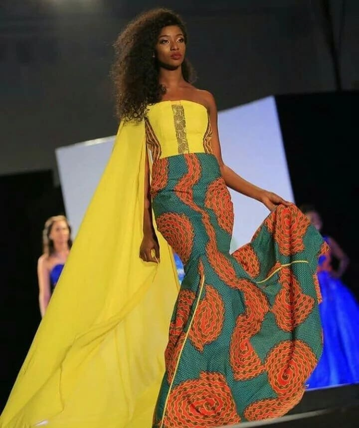 Ankara gown with chiffon train and lace decor (photo from Miss Africa 2017)