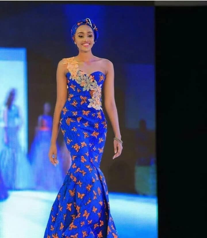 Ankara gown with lace decor (photo from Miss Africa 2017)