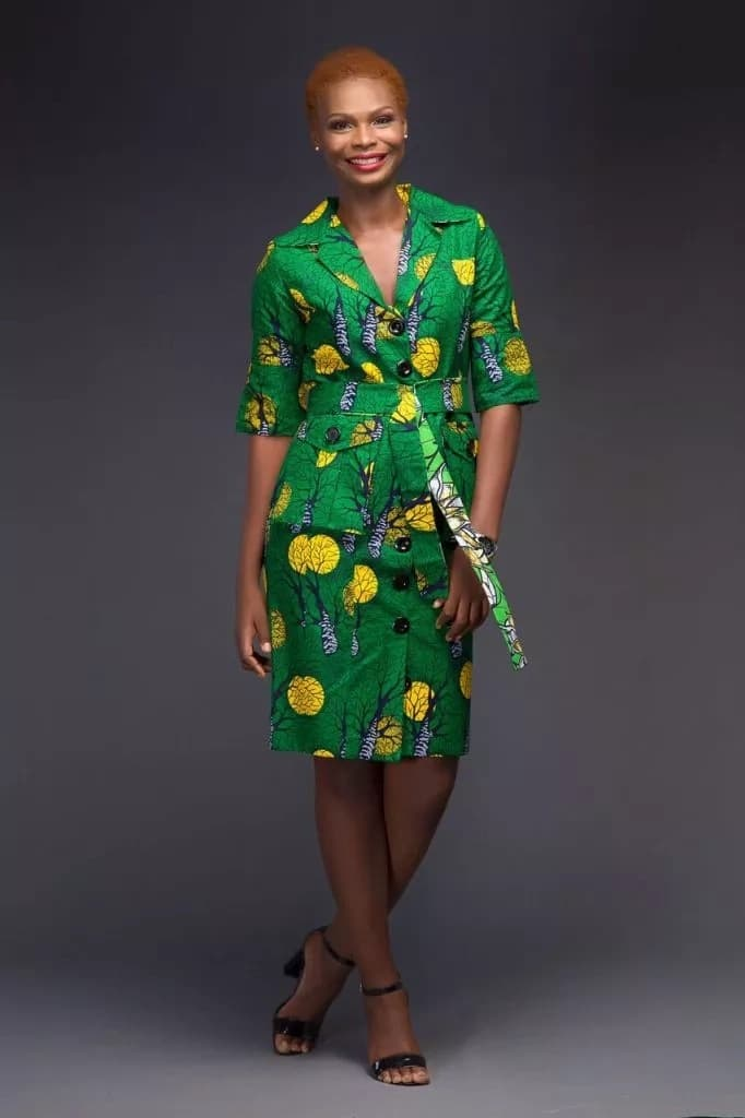 556120847e Ankara shirt dress with V-shaped neckline