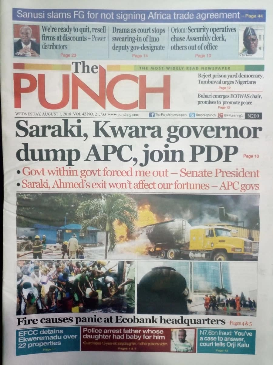 Punch newspaper for Wednesday, August 1. Photo credit: snapshot from Legit.ng.