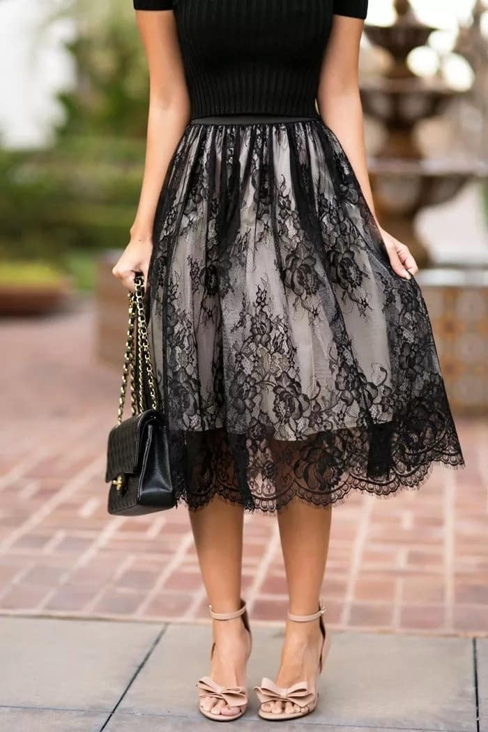 French lace flared skirt