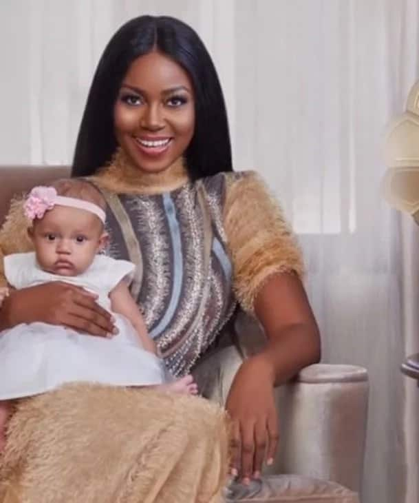 Cute photos of Ghanaian actress Yvonne Nelson feeding her baby
