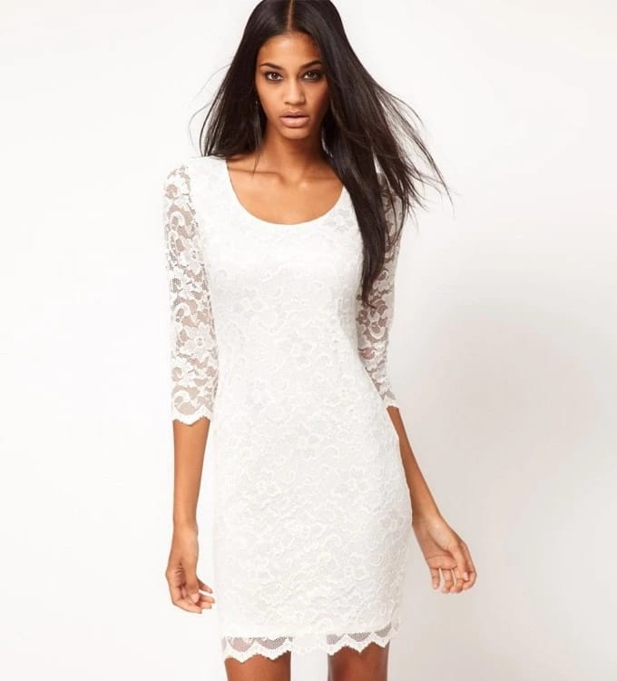 White short French lace dress