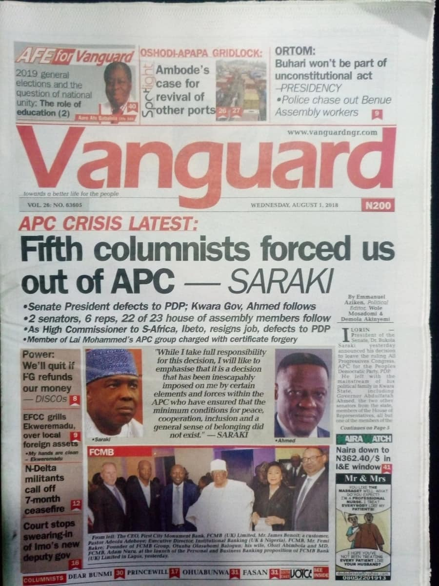Vanguard newspaper for Wednesday, August 1. Photo credit: snapshot from Legit.ng.
