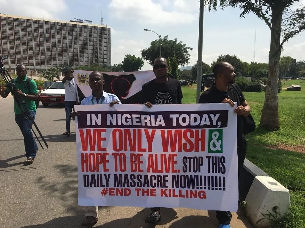 BREAKING: Civil Rights Activists march to Aso Rock over killings across Nigeria (photos, video)