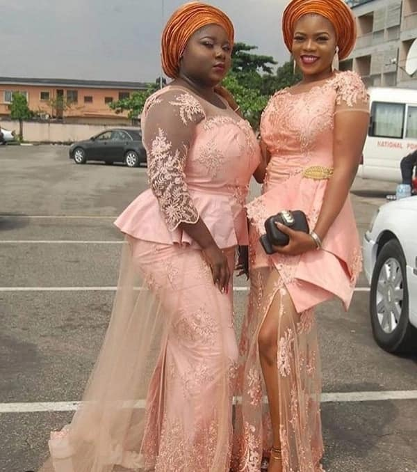 Nigerian peach French lace styles