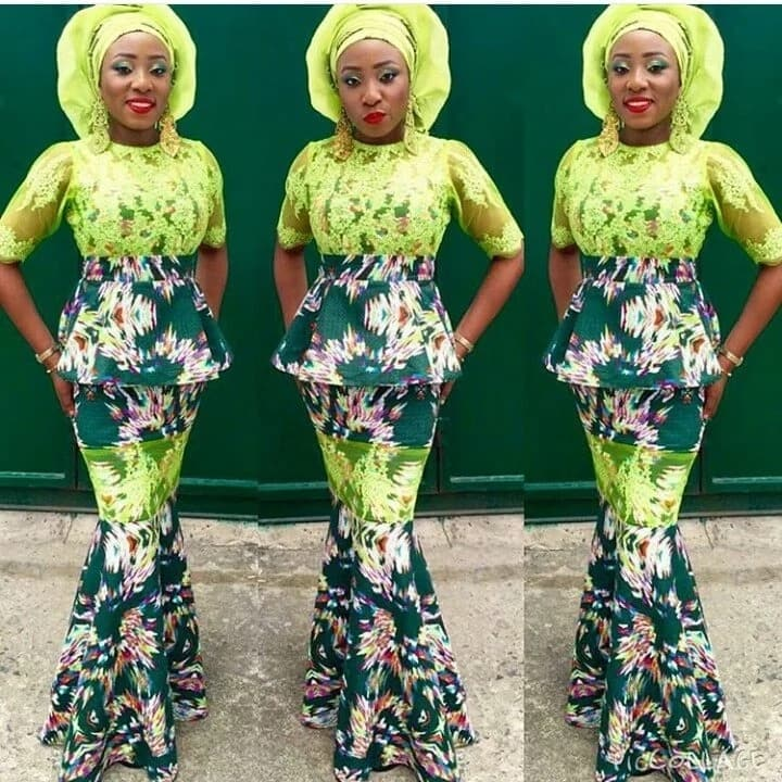 Ankara skirt and blouse - lace style