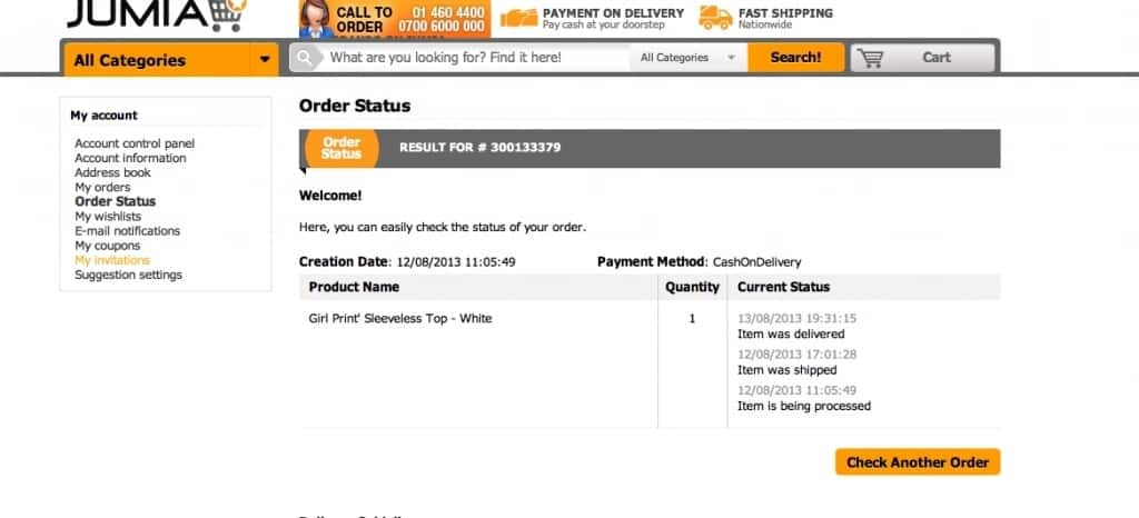 How to track order on Jumia