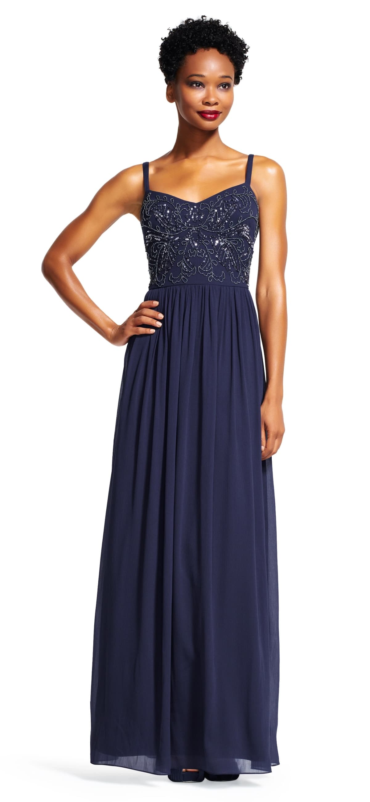 Chiffon evening maxi gown with decor