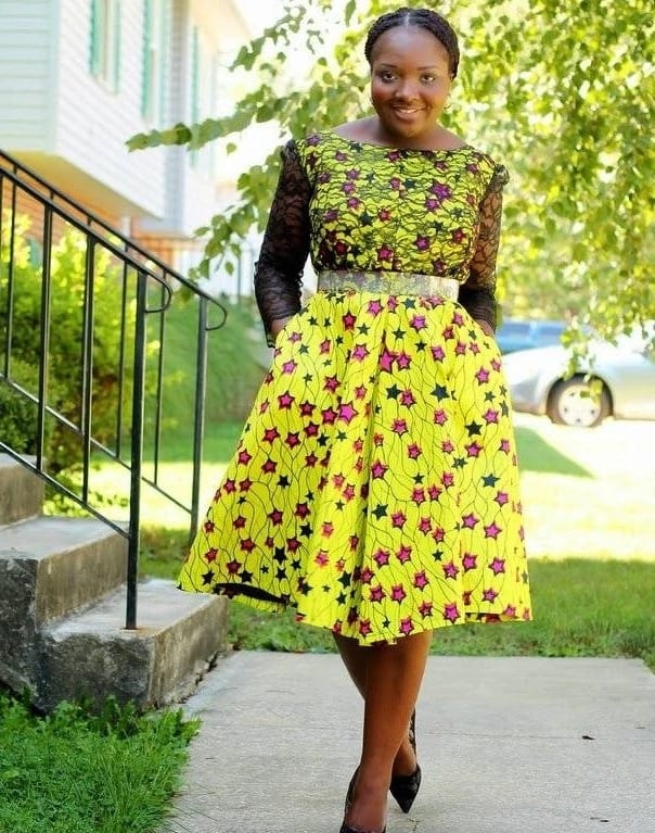 Ankara dress with a detachable waist and black French lace trim