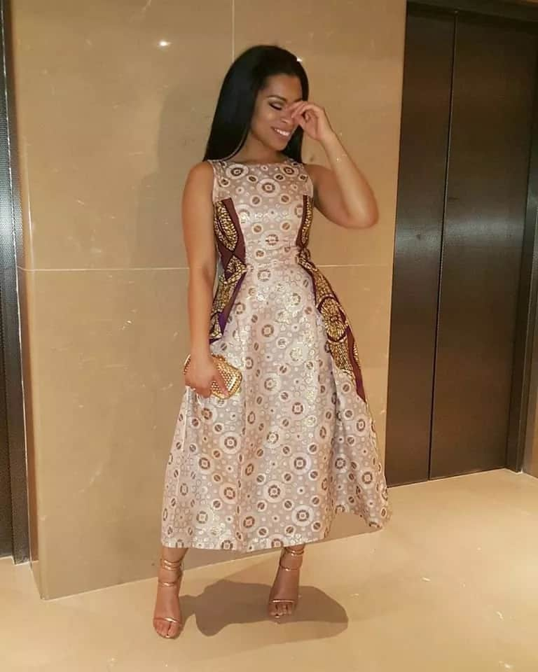Ankara midi mixed gown