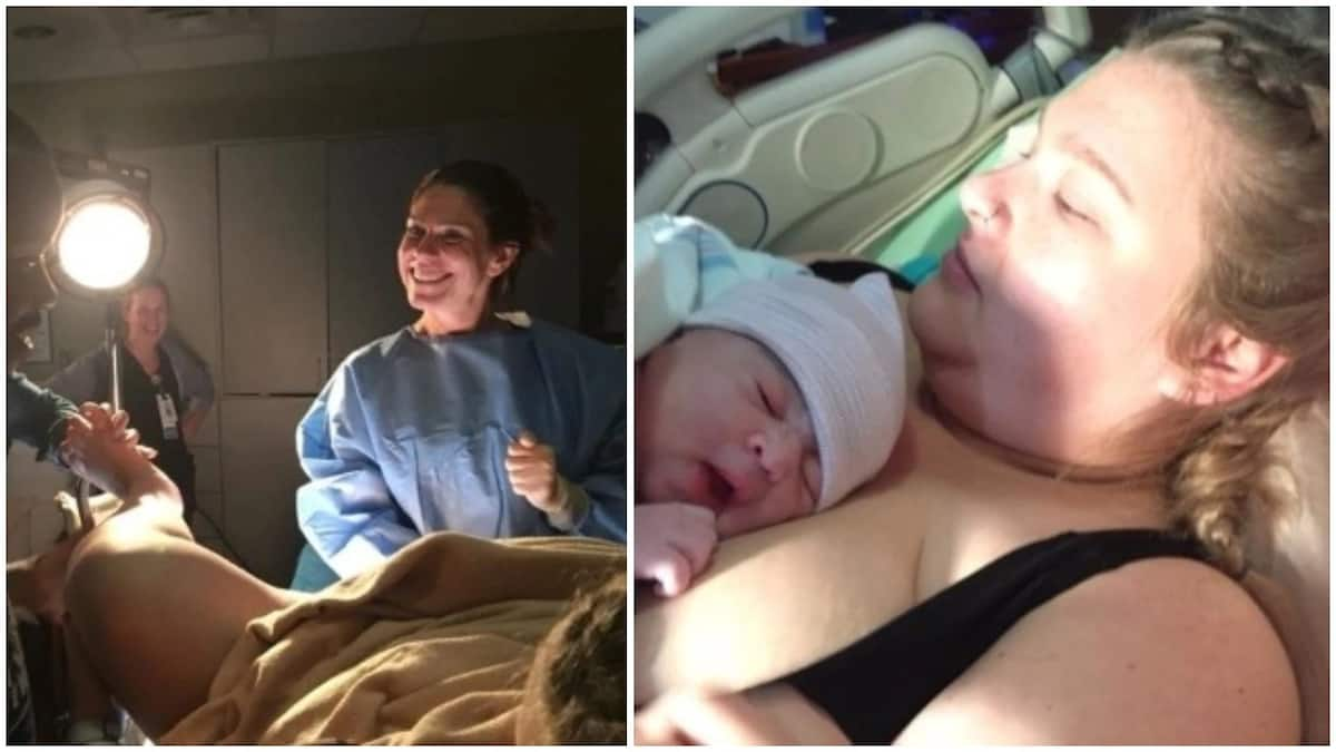 Excited new father shares photos of his wife in labour room on social media