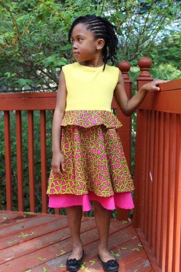 Ankara plain and pattern dress