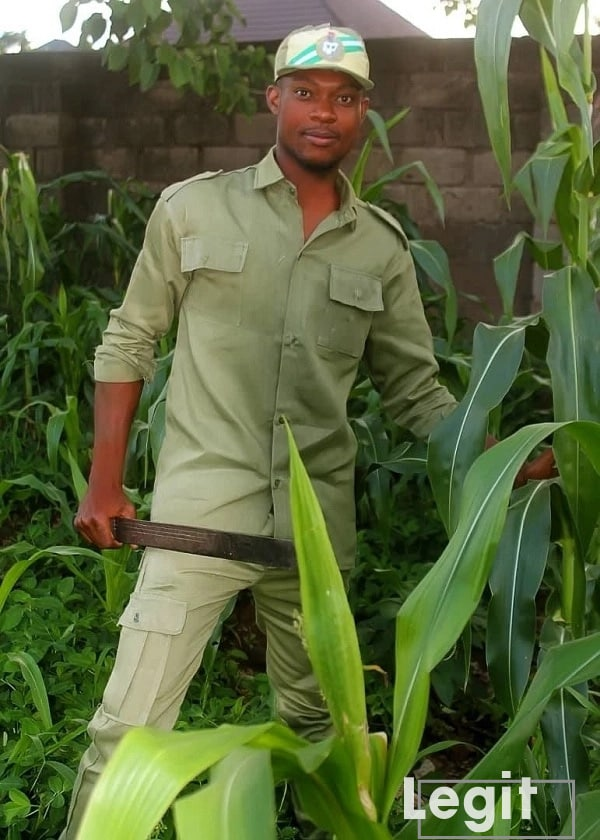 Enugu-born corps member with passion for farming shows off his harvest of corns
