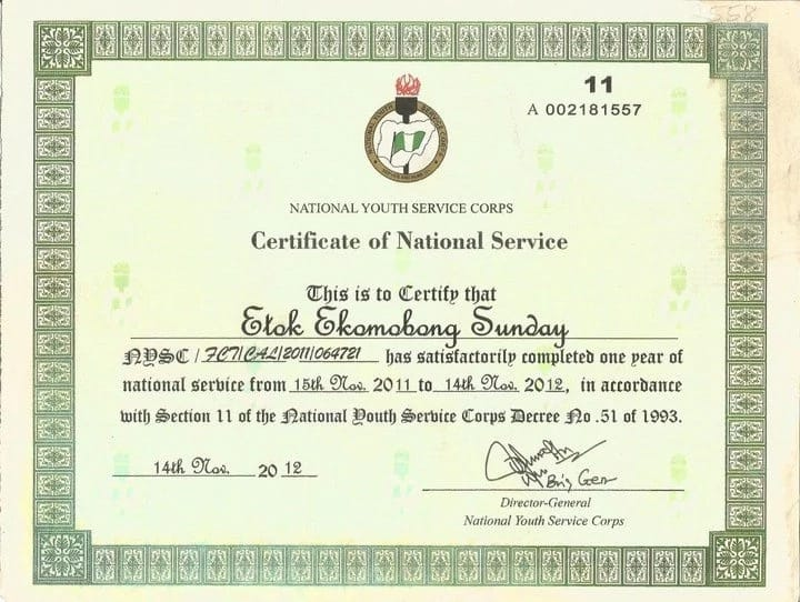 Nysc Certificate Sample