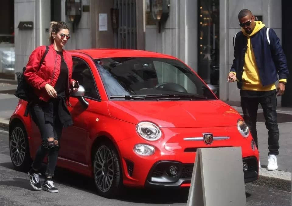 Kevin Boateng sighted with his partner driving red Fiat 500 car