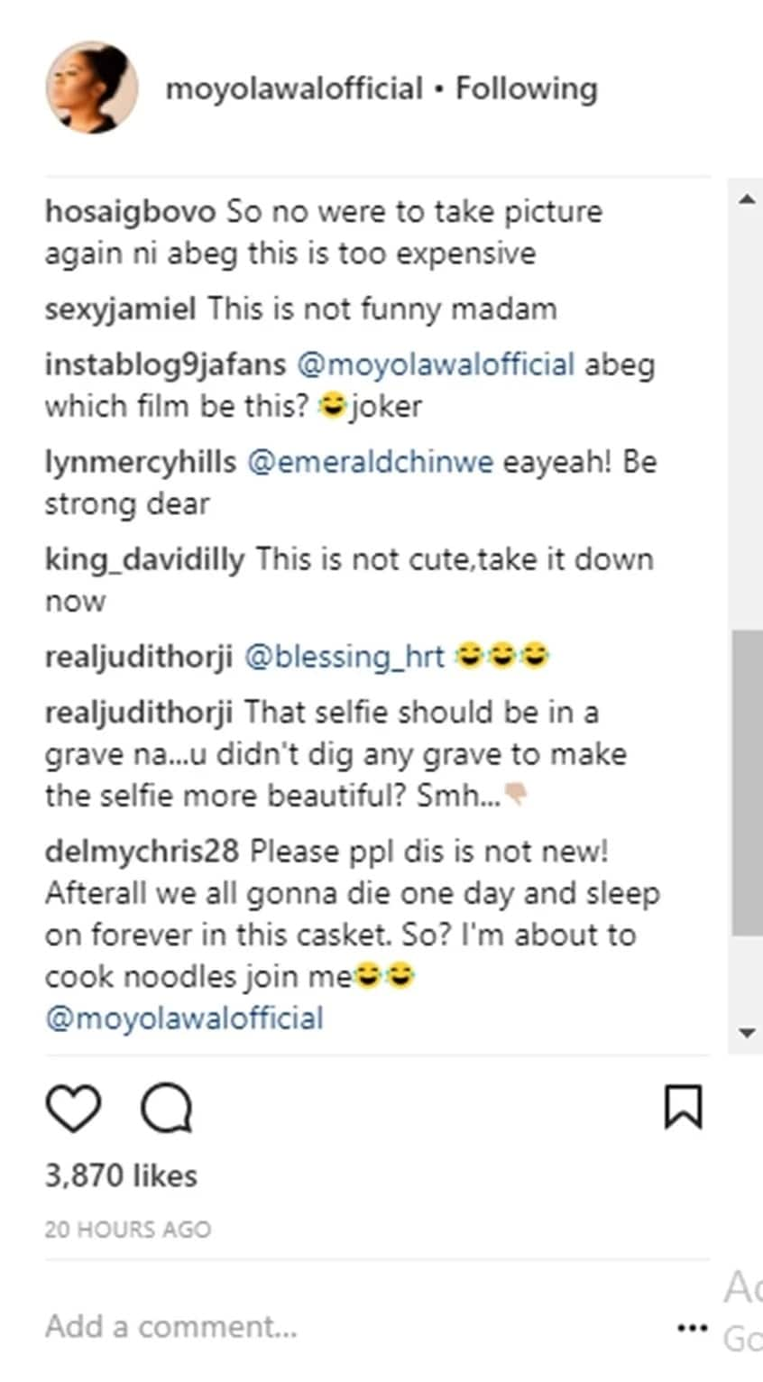Fans come out for actress Moyo Lawal for posing in a coffin