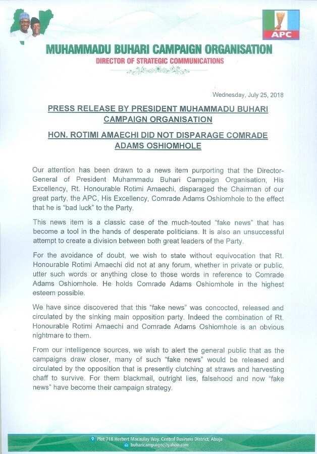 Rotimi Amaechi did not disparage comrade Adams Oshiomhole - Buhari Campaign Organisation