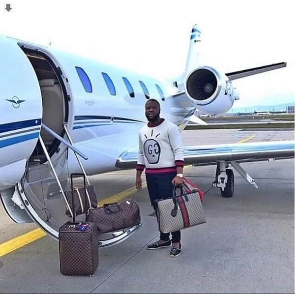 Ray Hushpuppi at the private jet