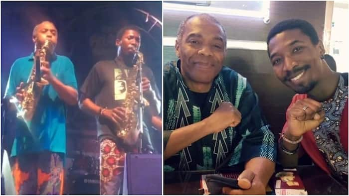 Heart-melting photo of Femi Kuti and son Made as they jet out to Paris to perform