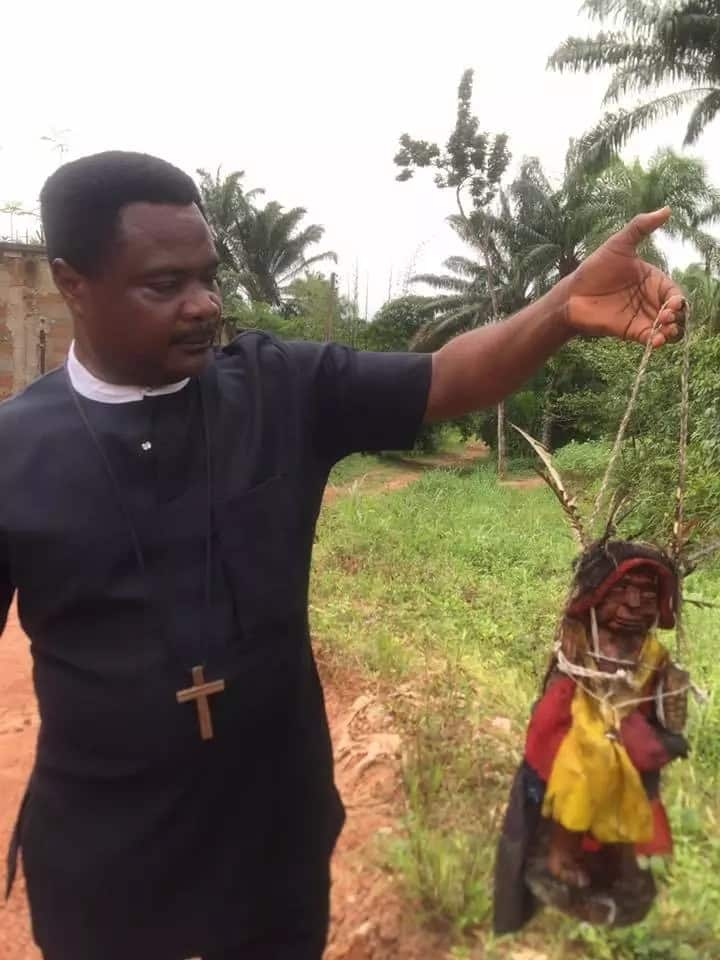 Imo-based pastor shares photos of an evil oracle he destroyed in the bush
