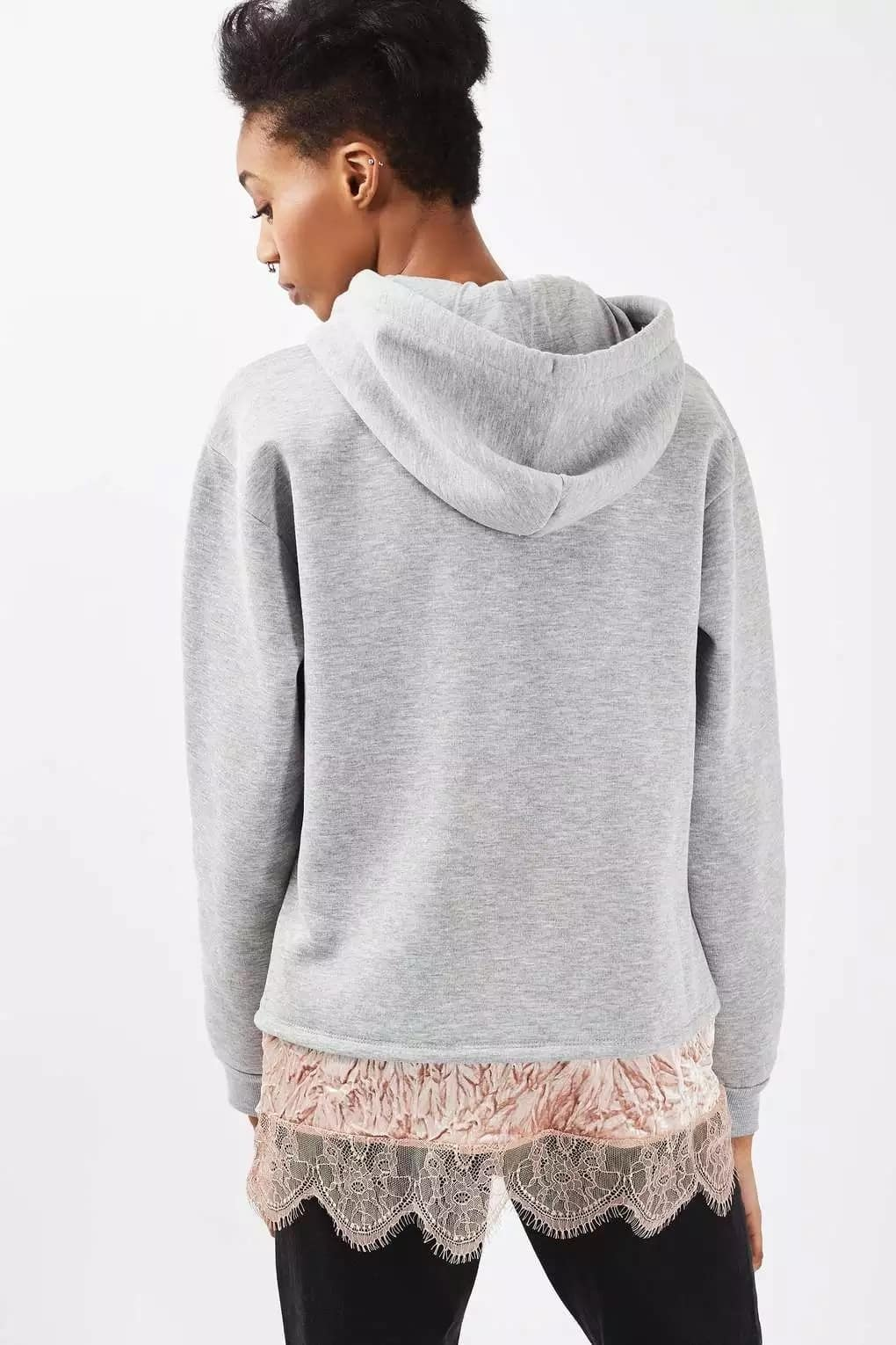 Sweater with French lace trim