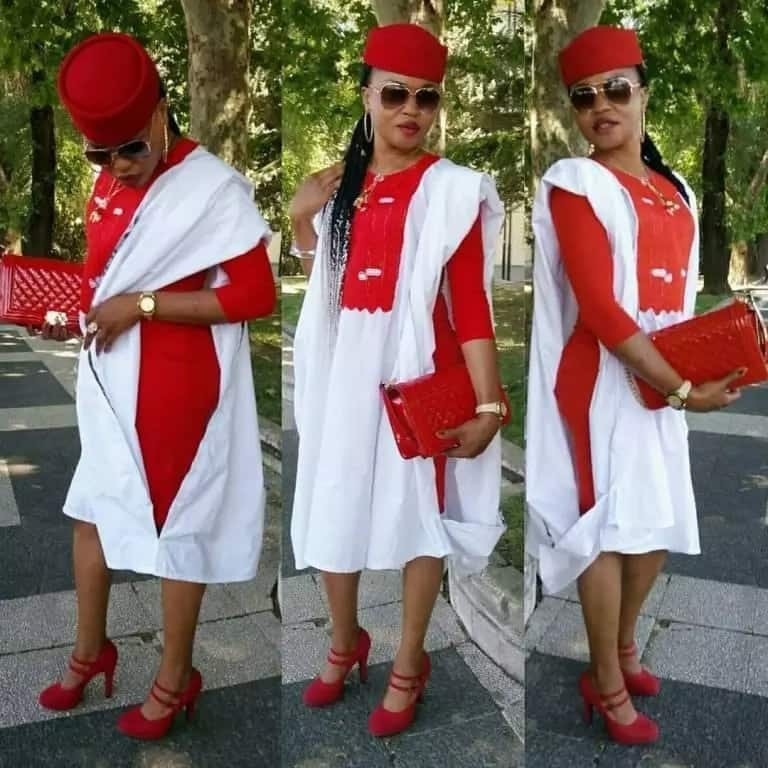 White mixed with red Agbada style for ladies