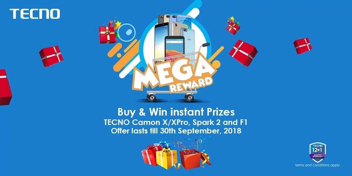 TECNO mega reward: Buy Camon X/ XPro, Spark 2, F1 and win instant gift items