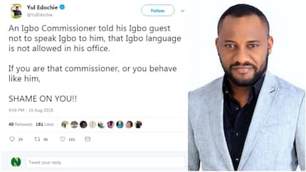 For banning his Igbo guest from speaking their traditional language, see what actor Yul Edochie did to a commissioner on Twitter