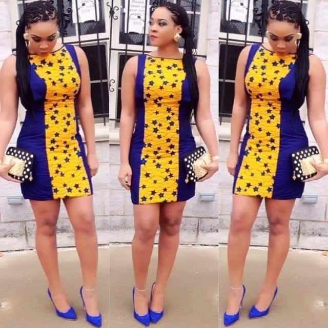 Ankara straight gowns with one-colored inserts