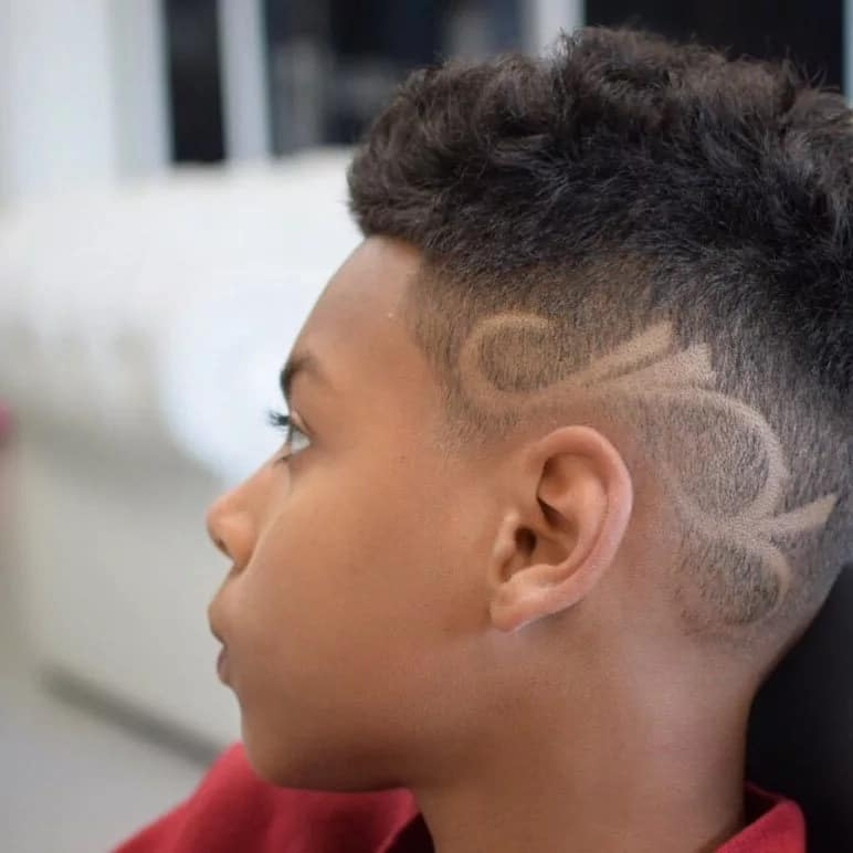 High fade with designs