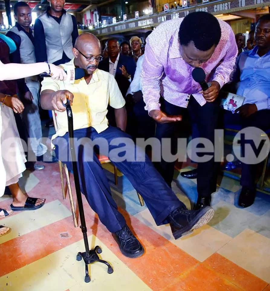 Physically challenged man starts walking after TB Joshua's