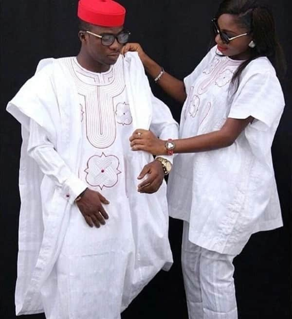 White Agbada male and female styles
