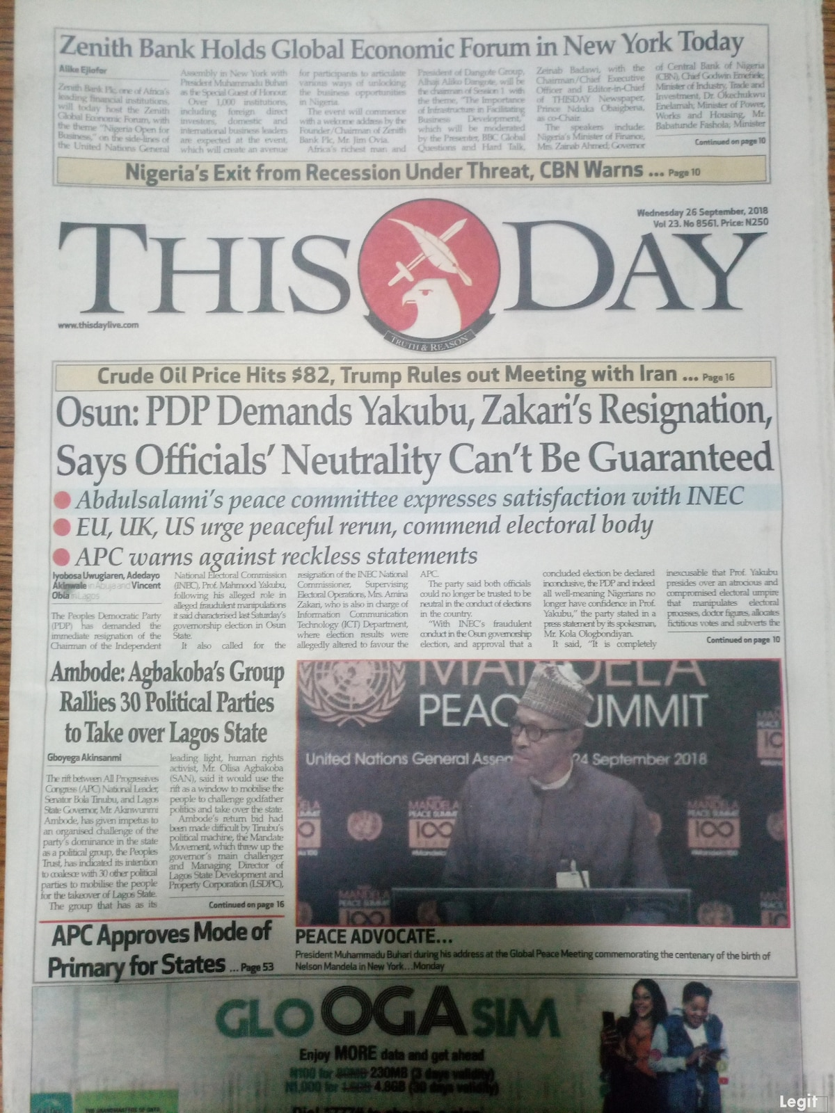 This Day newspaper for Wednesday, September 26.Photo credit: Snapshot from Legit.ng.