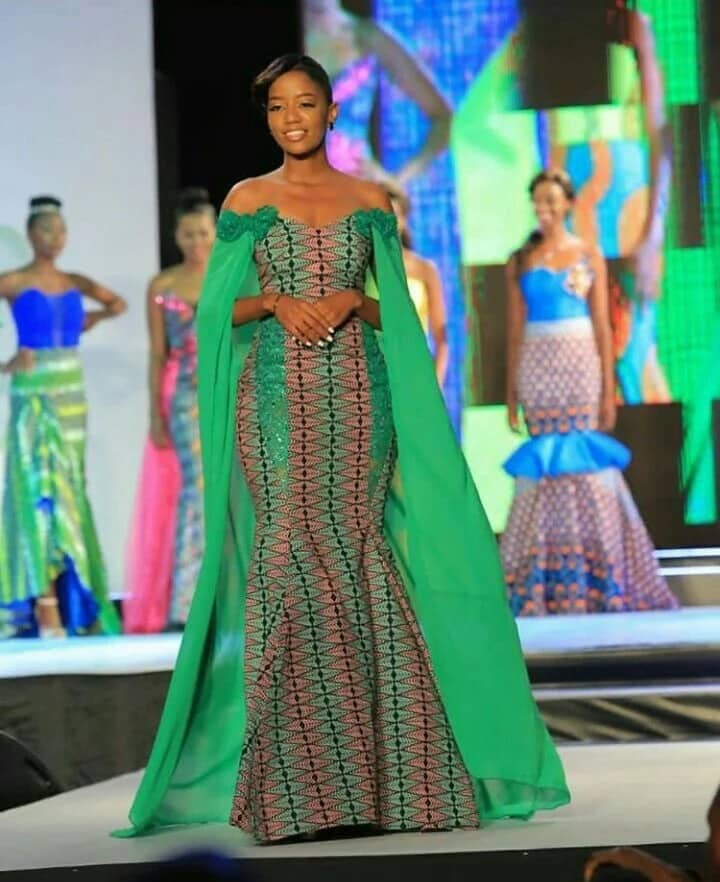 Ankara gown with chiffon cape and lace (photo from Miss Africa 2017)