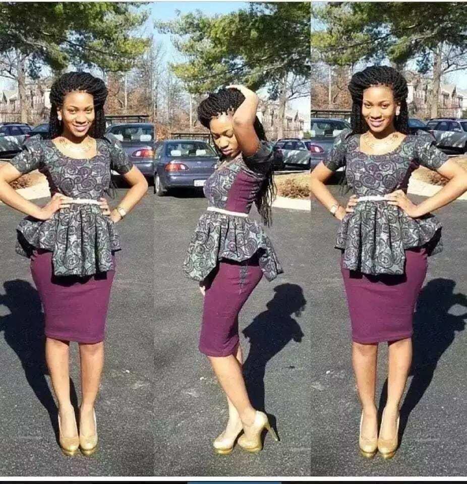 Ankara skirt pencil and peplum blouse