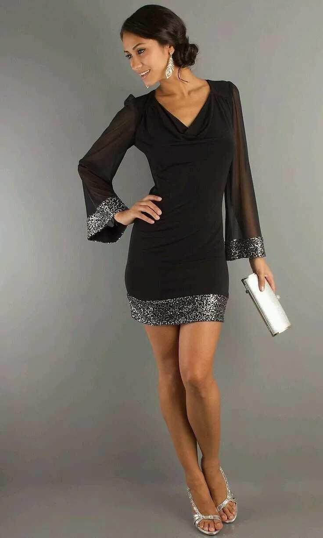 Short chiffon dress with sleeves 6