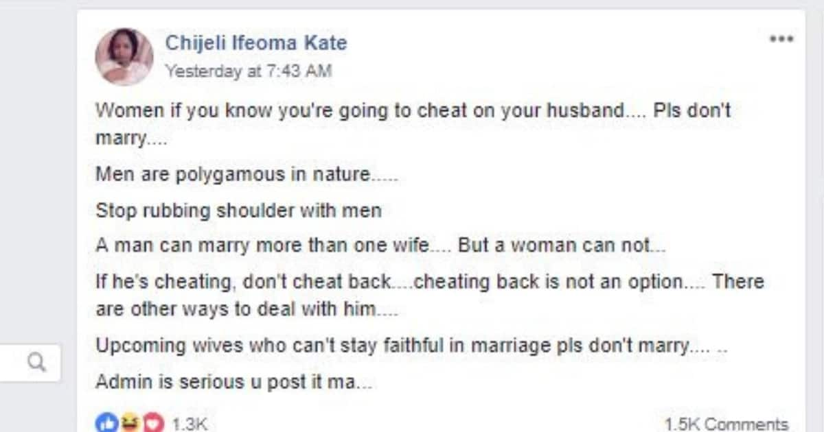 If you know you're going to cheat on your hubby, don't marry - Nigerian lady admonishes women